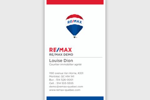 Cartes d'affaires RE/MAX verticales