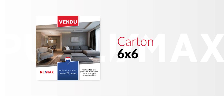 Carton 6x6 (carré) - 1 propriété VENDU